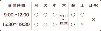 【受付時間】9時~12時、15時~19時30分 木曜日 9時~19時 【定休日】土曜日午後、日曜・祝日